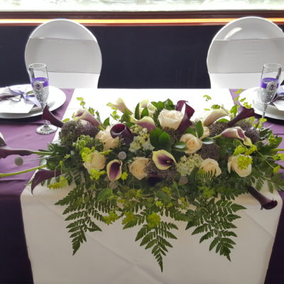 Purple and White Sweetheart Table