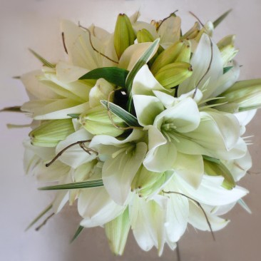 Brides Bouquet in White Lily with Curly Willow Accents