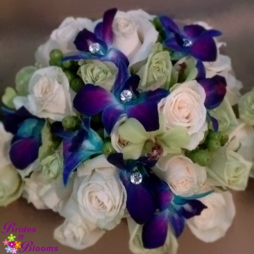 Brides Bouquet - Blue & Green Orchids with Green & White Roses