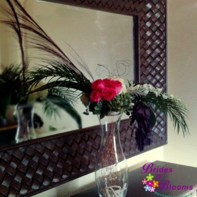 Room Decor of Palms & Mixed Flowers