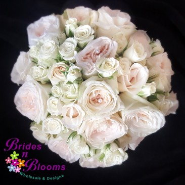 Champagne Rose & Spray Rose Brides Bouquet