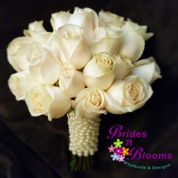 Traditional Rose Bouquet with Pearl Wrap