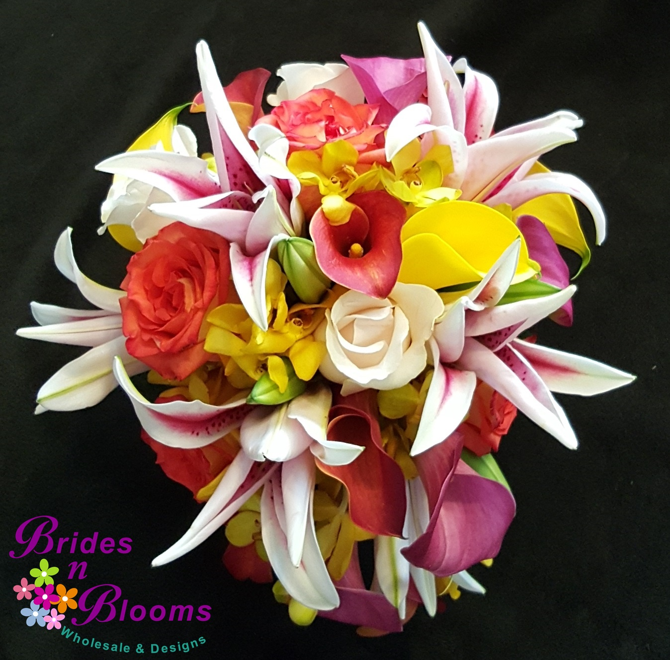 Teardrop Bridal Bouquet with Stargazer Lily, Mini Callas, Orchids & Roses
