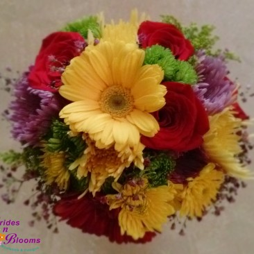 Gerbera Daisy, Rose & Mum Bouquet