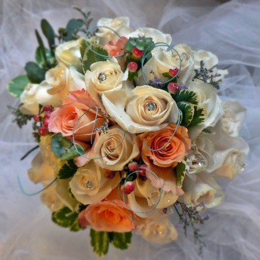 Peaches & Cream Brides Bouquet with Sage Accent