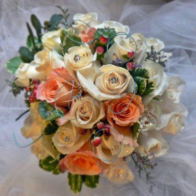 Peaches & Cream Brides Bouquet with Sage Accent