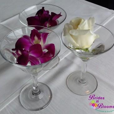 Brides N Blooms Designs 3 martini glass
