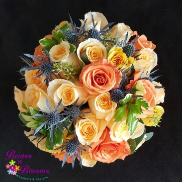 Brides N Blooms Designs Brides Peach, Yellow, Blue & White Bouquet