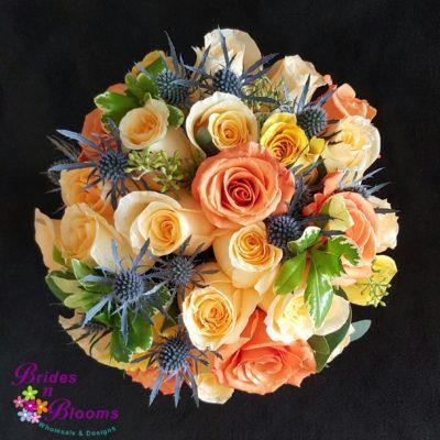 Brides N Blooms Designs Brides Peach, Yellow, Blue & White Bouquet