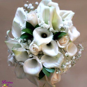 White Bridal Bouquet with Mini Callas, Roses & Babies Breath