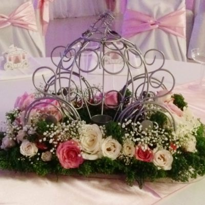 Fairytale, Inspired Centerpiece with Roses, Babies Breath & Trachilium