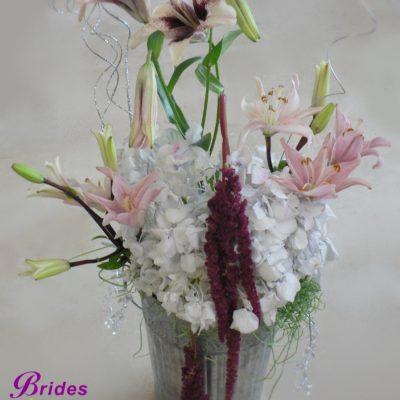 Hydrangea, Lily & Amaranthus in Metal Vase