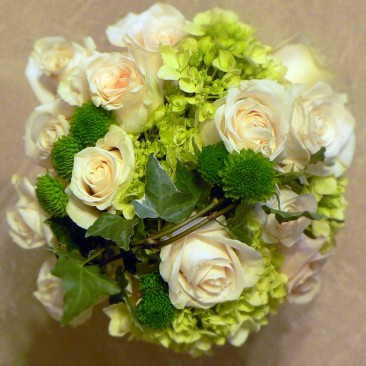 Roses, Hydrangea, Pom Pom Mums with Ivy Caging