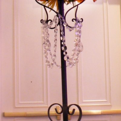 Tall Decor Candelabra with Flowers and Crystals