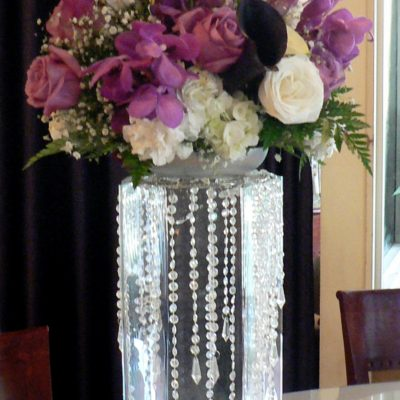 Brides N Blooms Designs - Purple Centerpiece with Roses, Hydrangea, Orchids & Babies Breath