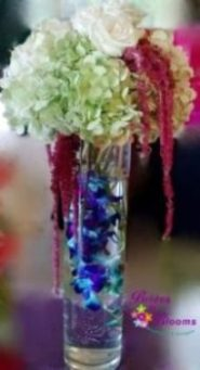Tall Hydrangea & Amaranthus with submerged Orchids
