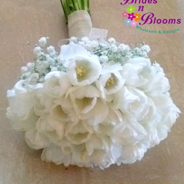 White Tulip Bouquet with Baby's Breath