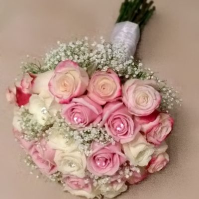Brides Bouquet of Roses, Pink, Light Pink, Red tipped and white with Babies Breath and Crystal Accents