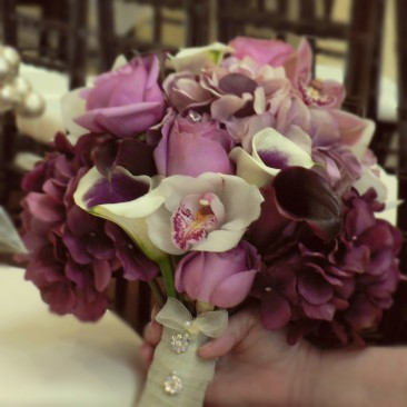 Gorgeous Purple and Cranberry Brides Bouquet