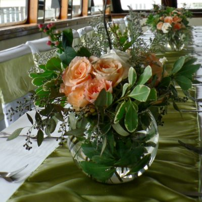 Brides N Blooms -  Peach & White Roses with Greenery Centerpiece on YachtStarship