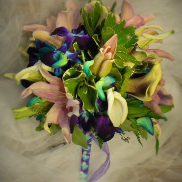 Purple & Pink Brides Bouquet with Ballet Wrap