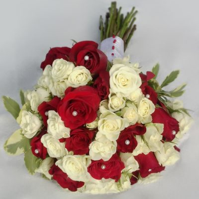 Red and White Brides Bouquet