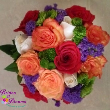 Red, White & Orange Roses with Purple Statice and Green Pom Pom Mums