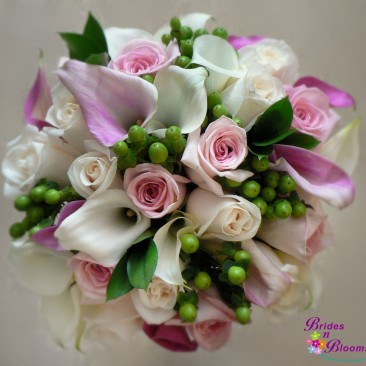 Pink & White Mini Calla & Roses w/Green Hypericum Berry