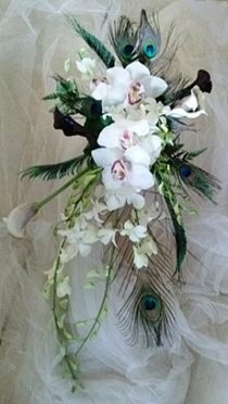 Brides N Blooms White Wedding Cascade Peacock Feathers