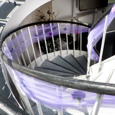Tulle Wrap Decor for Staircase