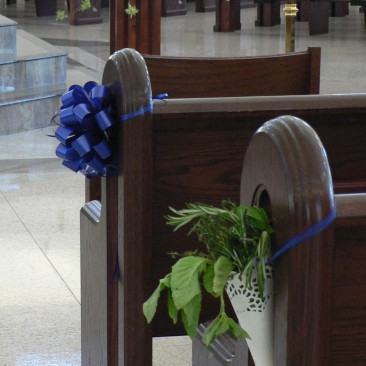 Aisle Decor for Church of Fresh Herb Cone & Bows and Picked Flower Arrangement