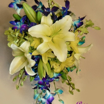 Bridal Cascade Bouquet with Orchids & Lilies