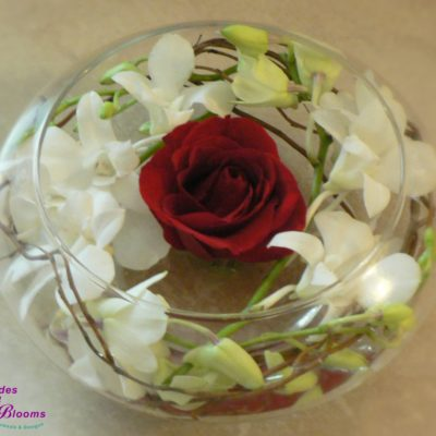 Brides N Blooms, Wholesale & Designs, Orchid, Curly Willow & Rose centerpiece
