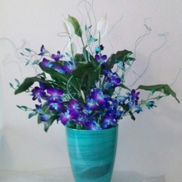 Blue & White Arrangement for Alter, Bimah or Reception Flowers