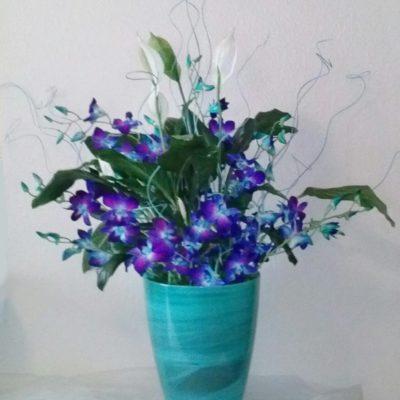 Blue & White Arrangement for Alter, Bimah or Reception Flowers