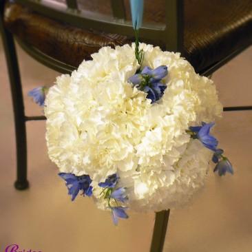White Carnation & Blue Delphinium Pomander