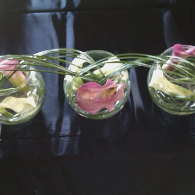 3 Bowls Mini Callas with Lily grass centerpiece