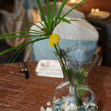 Thistle & Rice Flower island themed Centerpiece