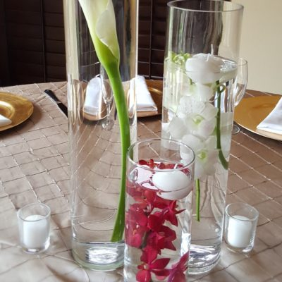 Candle & Orchid Cylinder Design