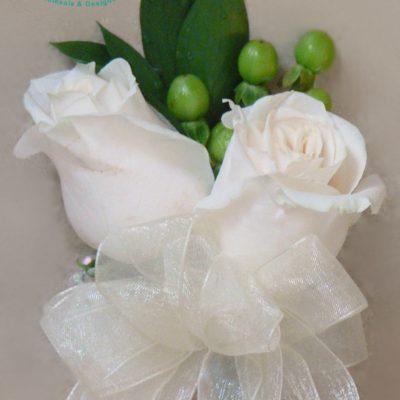 White Rose & Hypericum Berry Wrist Corsage