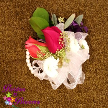 Wrist Corsage in Red & Purple