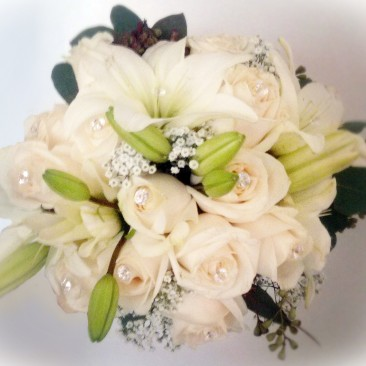 Brides N Blooms, Wholesale & Designs White Lily & Rose Bouquet