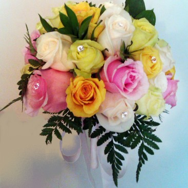Mixed Color Rose Brides Bouquet with Crystal Accents