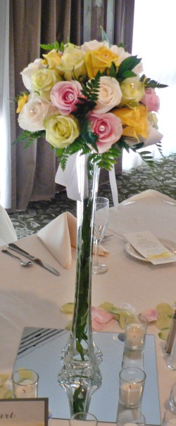 Bouquet Style Eiffel Tower Vase Centerpiece
