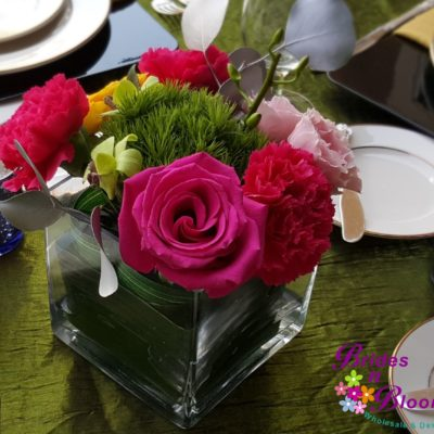 Flower Cube with Roses, Carnation, Trichilium  and Spray Roses