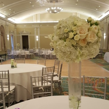 Tall Cylinder with Hydrangea, Orchids & Roses
