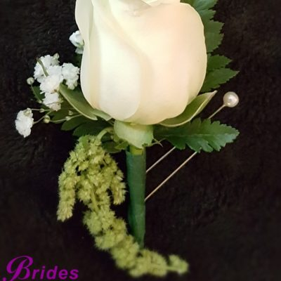 White rose & Amaranthus Boutonniere