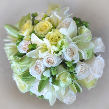 Bridal Bouquet of White & Green Roses with White LIly's & Green Hypericum Berry