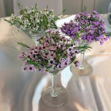 Charming 3 martini Glass Wax Flower Design