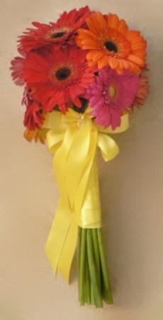 Brides Hot Pin, Red & Orange Gerbera Daisy Bouquet